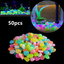 50pcs/lot Luminous Pebbles Rocks Glow in the Dark Aquarium Fish Tank Ornaments Stone for Garden Path Patio Decorations Mix Color