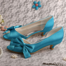 Aqua Blue Low Heel Shoes for Wedding