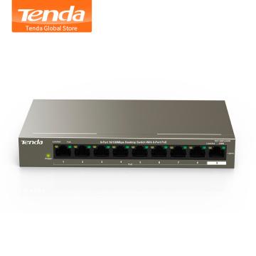 Tenda TEF1109P-8-63W 9 Port Desktop 10/100Mbps 802.3af/at PoE Fast Ethernet Network Switch, 58W, 250M, 6KV Lightning Protection