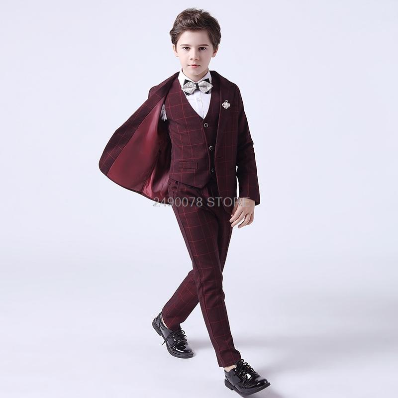 Flower Boys Wedding Suit Children Formal Tuxedo Blazer Vest pants Tie 4Pcs Clothing Set Kids Performance Party Dress Costume