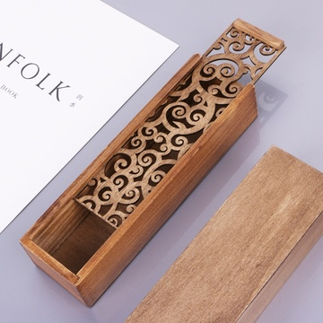 Retro Wooden Stationery Case Hollow Out Boxes Desktop Pencil Storage Organizer Dropship