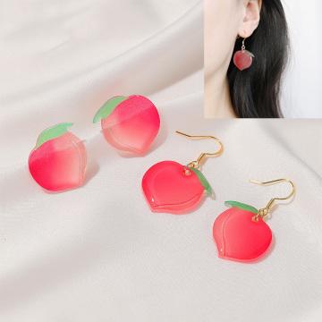 Japanese summer new sweet cute fresh peach Earrings acrylic peach Earrings women's fruit Earrings jewelry