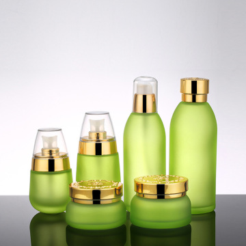 Golden Carved ABS Cap Glass Cosmetic Bottles