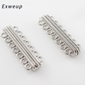 10pcs/lot Stripe Pattern Carved 2 Row Magnetic Clasps Findings Jewelry Making Connectors Accessories 48*14mm