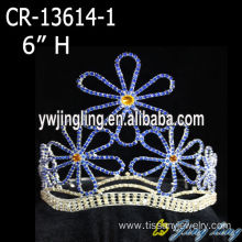 "6"" Crystal Flower Pageant Crown For Girls"