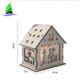 LED Light Wood House Christmas Tree Hanging Ornaments