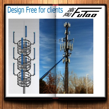 Galvanized 25M Monopole Tower With Antennas