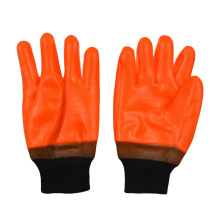 Fluorescent orange PVC coated gloves Foam insulated linning