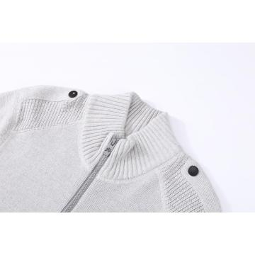 Men's Knitted Full Zip Textured Epaulet Pocket Cardigan