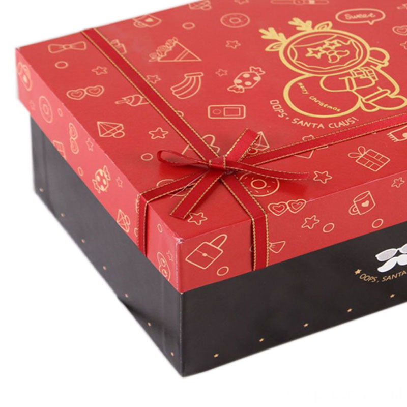 Hard Paperboard Box Christmas Gift Box With Ribbon