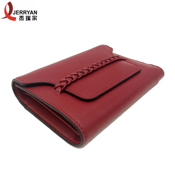 Leather Red Clutch Money Slip Wallet Purse