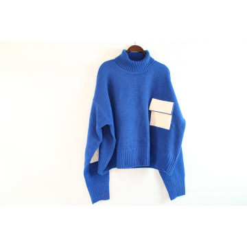Blue Turtleneck Bat Sleeve Sweater