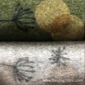 Regenerated polyester coarse needle printed wool cloth
