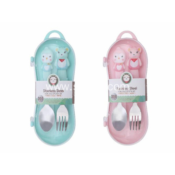 304 Stainless Steel Fork Spoon Portable Baby Tableware