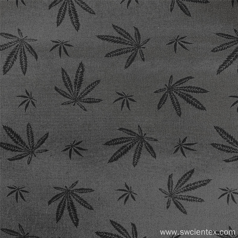 Elegant Gray Maple Leaf Bengaline Print Rayon Fabric