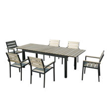 7pc aluminum plastic extension dining set
