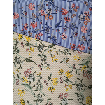 Stripe Flower Rayon Voile 60S Printing Woven Fabric