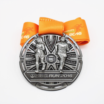 Silver alloy sport run race award medal