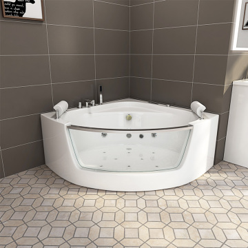 High quality corner whirlpool acrylic bathtub