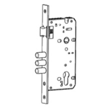 Mortise lock with triple round deadbolts and latch