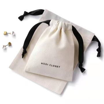custom recycled cotton drawstring jewelry bag