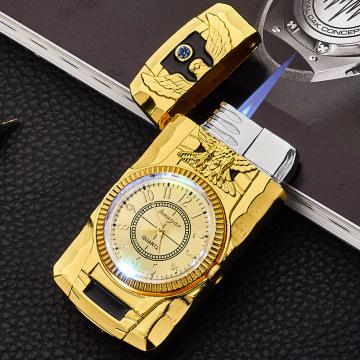 Clock Torch Turbo Lighter Butane Jet Lighter Men Gold Watch Quartz Compact Butane Cigarette Cigar Straight Fire Lighter