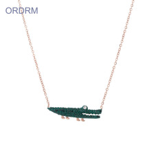 Women's Jewelry Crystal Crocodile Charm Necklace Chain