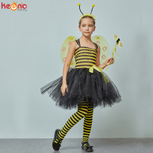 Children Bumble Bee Costume Set Girls Tutu Wings & Headband Yellow Black Kids Fancy Dress Halloween Dress Up Party Clothes