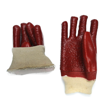 14inch Red PVC coated gloves terry toweling linning