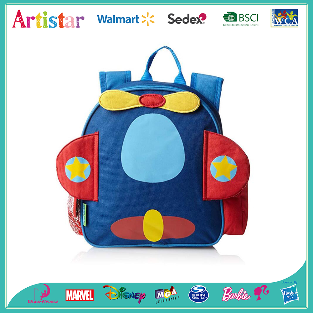 blue airplane modelling backpack