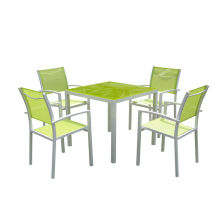 5PC aluminum textilene dining table set