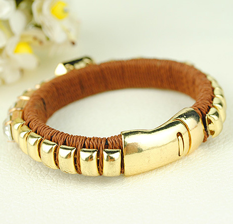 Weaved Wrap Gold Bangle Bracelet