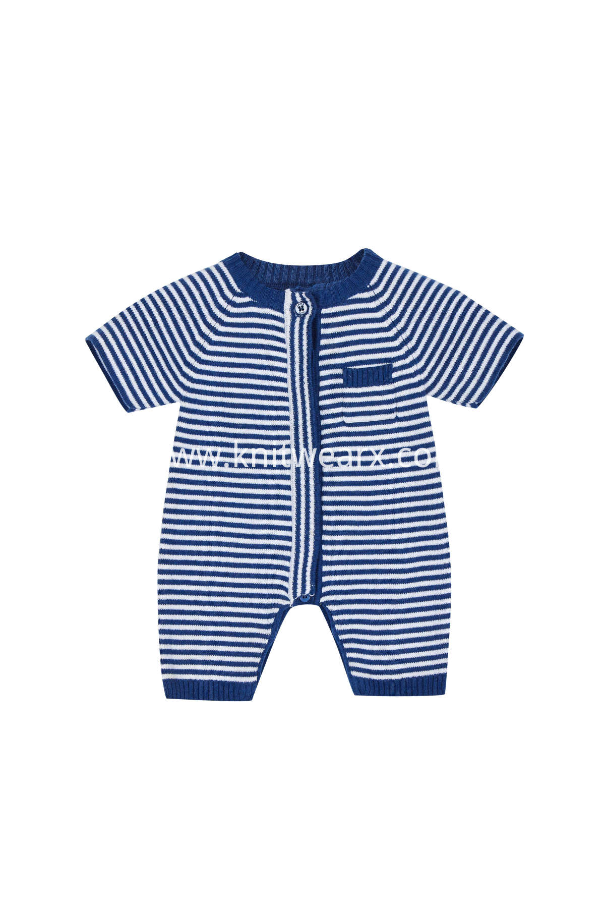 Baby's Summer Stripe Pajamas Button Closure Crew Neck Sweater