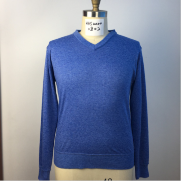 Men's Long Sleeves Knitted V-neck Blue Sweater