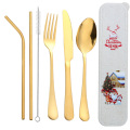 Straw  Fork Knife And Spoon Flatware Set