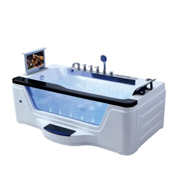Tempered Glass Side Acrylic Massage Bathtub in Bathroom