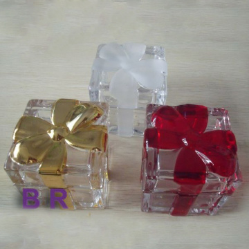 Square Bowknot Pattern Clear Jewelry Box/ Candy Jar