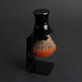 Synthetic shaving brush with handle