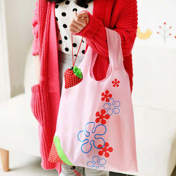 Custom Eco Friendly Foldable Strawberry Shopping Bag