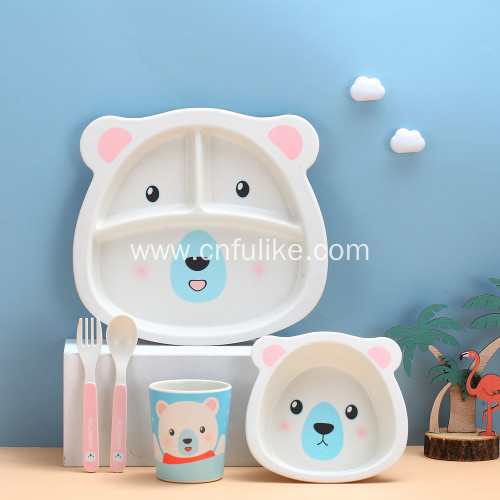 Children's Bamboo Tableware Cute Animal Dinnerware