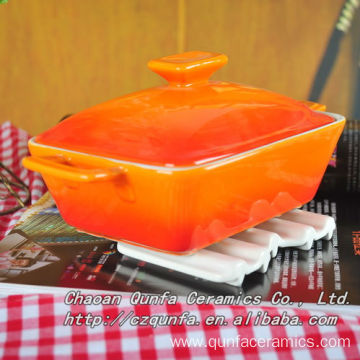 Square Ceramic Cookware With Handle And Lid