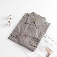 Men's Short Sleeve Twill Cotton Fabric Shirt