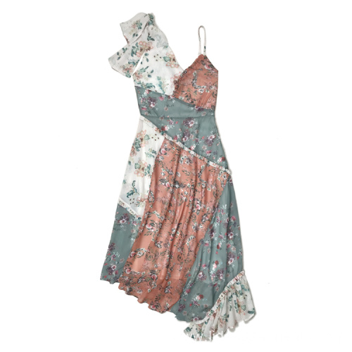 Women Fashion Chiffon Printed Patch Work Dress