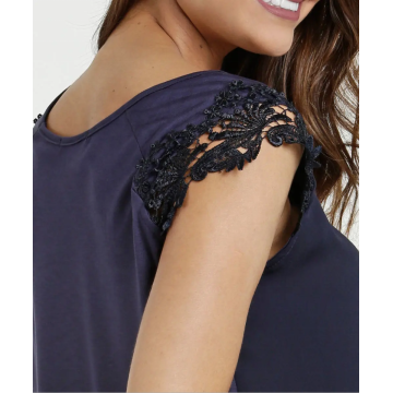 Sleeveless casual Top Lace on the shoulder blouse