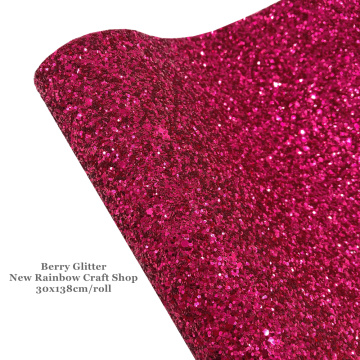 New Rainbow 30x138cm/roll Gorgeous Fresh Berry Chunky Glitter Leather Fabric Yard To Make Bows, Earrings, Accessories, Crafts
