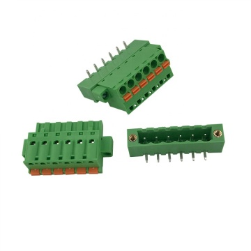 spring contact with flange pluggable terminal block