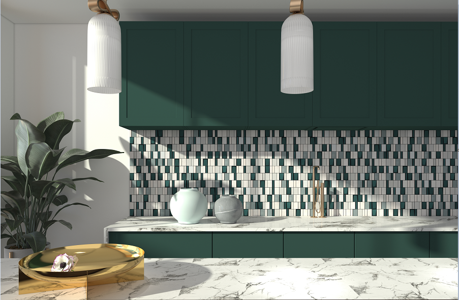 Kitchen Geometric Art Glass Mosaic Ceramic Wall Tiles