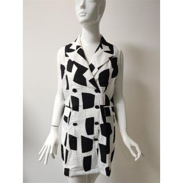 Printed viscose/nylon/linen dress with pocket