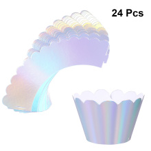 24pcs Iridescent Rainbow Cupcake Wrappers Cake Paper Cups Cupcake Wrapper Cupcake Liners Baking For Baby Shower Birthday Party