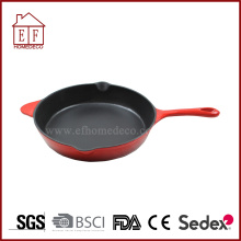 Enamel Cast Iron Skillet Red